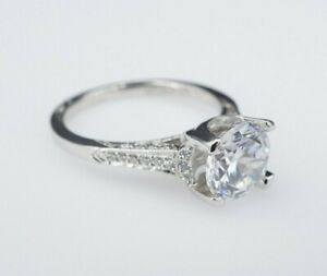 Simply TACORI Platinum Diamond Semi-Mount Ring 7.5mm 1.5ct RBC Size 5.75 RG2384