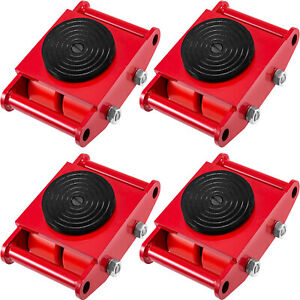 4PCS Machinery Mover 4 Roller 360° Dolly Skate Cargo Trolley 13200lbs/6 Ton