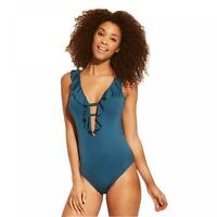 NWT Shade & Shore Women's Swimwear Ruffle Plunge One Piece Swimsuit