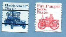 FRANCOBOLLI USA 1981 TRASPORTI. SG1877/79 elettrico auto/Fire POMPISTA-due francobolli