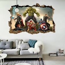 Cartoon Avengers Wall Sticker 3D Decals Wallpaper Mural Art Poster For Kids Room