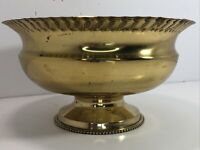 """Lacquered Solid Brass Heavy Footed Bowl With Scalloped Edges India 3"""" x 7"""""""