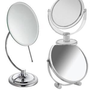 Bathroom Mirror Free Standing Round Plastic Cosmetic Swivel C - Shaped Chrome