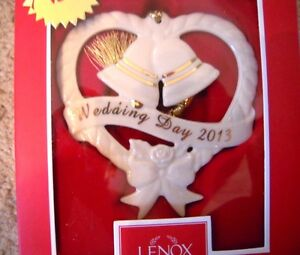 Lenox 2013 Wedding Day Bells & Heart Ceramic Christmas Tree Ornament NEW