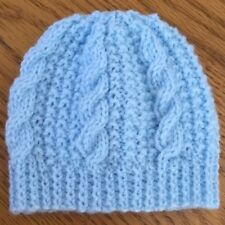 97b72c7d0ca Hand knitted blue cable pattern newborn baby hat
