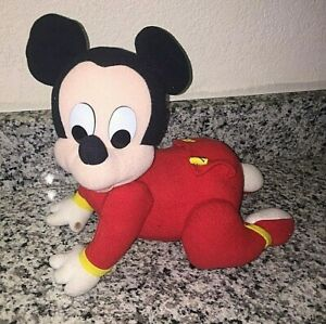 Vintage Disney Crawling Electronic Baby Mickey Mouse in PJs 1995 Toy Plush WORKS