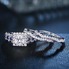Princess White Cz Blue Sapphire Sz 7 Wedding Rings For Women Engagement Ring Set
