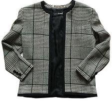 VTG LOUIS FERAUD COUTURE Women's B & W Glen Plaid Wool Silk Jacket Sz 6