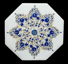 "24"" Marble Coffee Table Top Exclusive Lapis Lazuli Floral Inlay Christmas Decor"