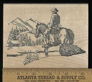 Auntie Amy's Wood Block Stamp COWBOY ON HORSE, CHRISTMAS TREE, GIFTS