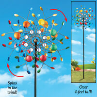 4 Foot Tall Colorful Kaleidoscope Kinetic Double Wind Spinner Garden Yard Stake