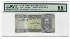 P-1 2011 5 Piasters, Bank of South Sudan, PMG 66EPQ GEM Nice