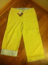 Horny Toad LuLu Capri Size 6 (30x22) In Husk (Yellow) Roll-Up Cuffs NEW W TAGS!