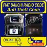 Fiat Radio code DAIICHI Security Pass Key sat navi 2011 2012 2013 2014 2016 2015