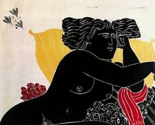 "Alekos Fassianos  ""NOHELIKI"" Open Edition Pigment Print Greek Artist Blue/Black"