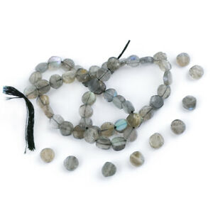 Grey Labradorite Beads Plain Coin Approx 6-7mm Strand Of 52+