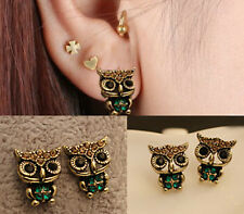 Owl  Cute Jewelry Lady Fashion Style Rhinestone Vintage Ear Stud  Earrings