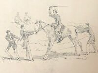 Horse Recalcitrant Drawing Anonymous to 'Ink towards 1870 Cavalry