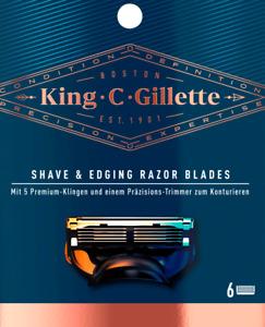 King C Gillette 6er Pack Premium Klingen Shave & Edging Razor Blades