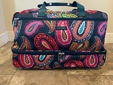 New Vera Bradley Twilight Paisley Lighten Up Foldable Wheeled Carry-On Luggage