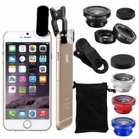 Universal 3in1 Fish Eye Wide Angle Macro Clip On Camera Lens Kit For Cell Phone