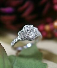 2.00 Ct Oval Cut Solitaire Diamond Engagement Wedding Ring 14k White Gold Over