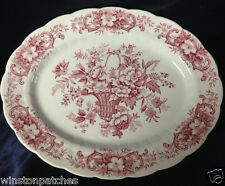 """RIDGWAY ENGLAND OLD ENGLISH BOUQUET OVAL PLATTER 12"""" RED FLOWERS BASKET SCROLLS"""