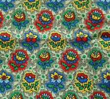 1 yd Tres Jolie Janet G Gossard for Spectrix Floral Red Yellow Blue on Green