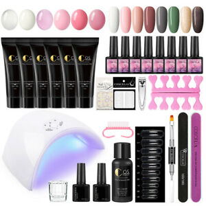 18/16 Color Poly Nail Kit with UV Lamp Quick Nail Extension Builder Gel Beginner