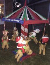 RARE 7' Ft. Animated  Christmas Carousel w/reindeer Huge Life size Yard/Outdoor