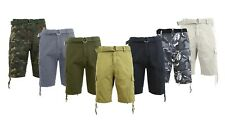 Mens Cotton Cargo Shorts Belt Zip Button Everyday Casual Outdoor Lounge Soft NWT