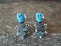 Zuni Indian Jewelry Sterling Silver Turtle Post Earrings by F. Massie