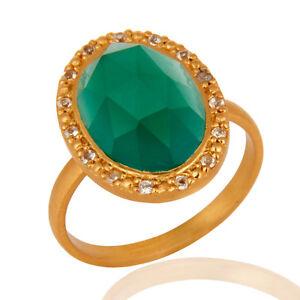 Womens Fashion Green Gemstone Ring Handmade 925 Silver Designer Jewelry