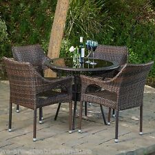 Outdoor Patio  5pc Multibrown All-Weather Wicker Glass Table Top Dining Set
