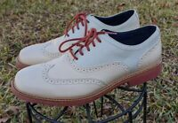 COLE HAAN Great Jones Size Ivory/Brick Leather Wingtip Oxfords Sz 8.5M C11234
