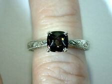 14K WHITE GOLD RING, 1.27 CT CUSHION CUT NATURAL PURPLE SPINEL, SI1, UNTREATED