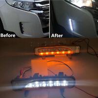 2x Front Bumper LED Fog Light Turn Signal White+Amber For Ford Edge 2011-2014