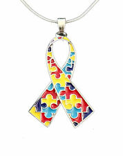 Autism Awareness Puzzle Piece Ribbon Necklace-NEW-FREE SHIPPING