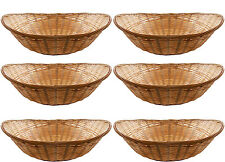 12 x Vintage Oval Natural Bamboo Wicker Bread Basket Storage Hamper Display Tray