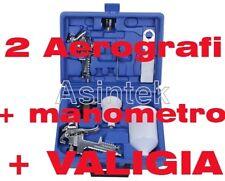 pistola per verniciare a spruzzo 0,8 e 1,3 mm aerografi con manometro + valigia