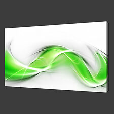 """ABSTRACT GREEN WAVES CANVAS PRINT ART PICTURE MODERN DESIGN 20""""x16"""" FREE UK P&P"""