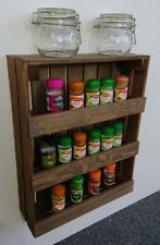 Wooden Spice Rack Wall Mounted Or Free Standing Vintage Brown jp050