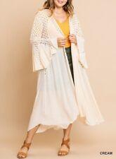Umgee Plus Boho Bell Sleeve Crochet Kimono Cardigan Long Tunic Maxi Top
