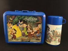 Vtg Aladdin Blue Walt Disney Snow White and the Seven Dwarves Lunchbox + Thermos