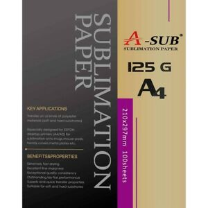 A-SUB sublimation paper A4, 100 Sheets, for EPSON, RICOH GX, SAWGRASS printers