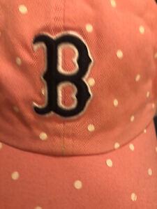 Boston Red Sox Women's Classic Adjustable Hat Cap Pink White Blue Polka Dot Rare