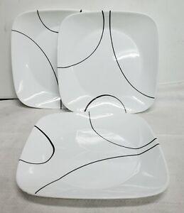 Corning Corelle Vitrelle Simple Lines 3 Square Dinner Supper Plates Black White