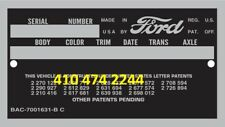 1949 - 1962 FORD CAR & TBird DATA PLATE SERIAL NUMBER ID TAG VIN I can stamp