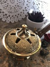 Ornate Brass Censer Incense Burner, Handmade with Wooden Handle for Resin