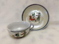 VINTAGE LUSTERWARE GIRL DOG SLEDDING TEACUP SAUCER Orphan Annie
